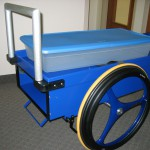 shown with storage tote on top of cart